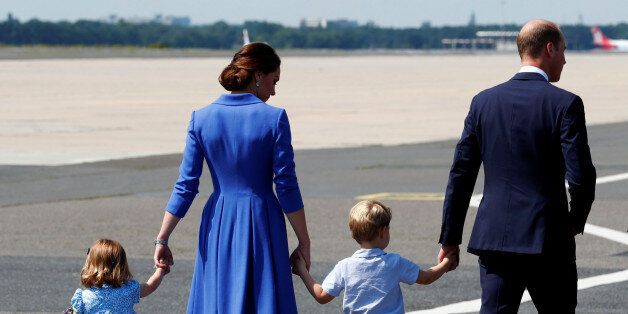 Prince William, the Duke of Cambridge, his wife Catherine, The Duchess of Cambridge, Prince George and...