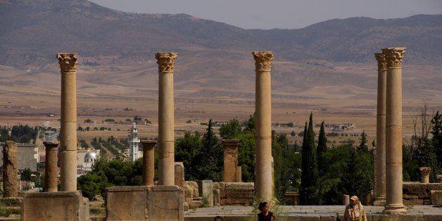 TAMGAD, ALGERIA - AUGUST 2: August 2nd, 2012, Tamgad (old town) in Batna, Algeria. The roman emperor...