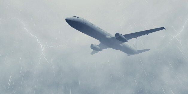 Airliner flies through a heavy dark rainy clouds with lightnings. Monochrome realistic 3D illustration...