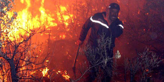 An fireman struggles against a fire, late 01 September 2007 night in Tzarift, near Tlemcen, north-west...