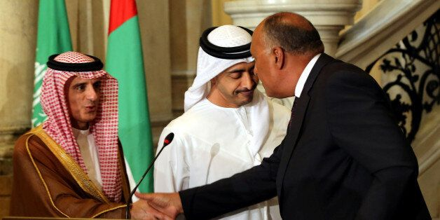 Saudi Foreign Minister Adel al-Jubeir, UAE Foreign Minister Abdullah bin Zayed al-Nahyan and Egyptian...