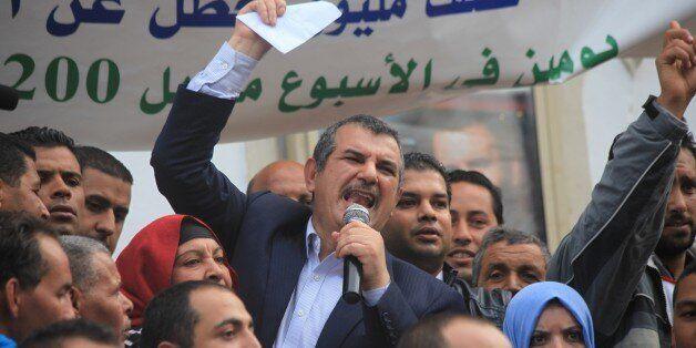 TUNIS, TUNISIA - OCTOBER 31: Leader of the Tayyar al-Mahhab Party, Hachmi Hamdi, gives a speech during...