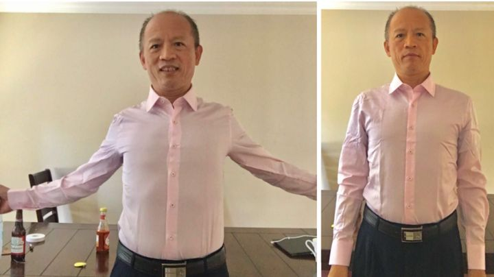 Tanya Zhang's dad models the New Year in size N2.