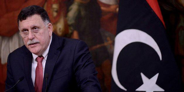 ROME, ITALY - JULY 26: Libyan Prime Minister Fayez al-Sarraj at Palazzo Chigi on July 26, 2017 in Rome,...