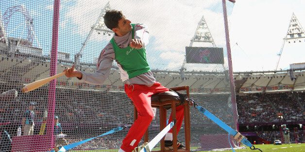 LONDON, ENGLAND - AUGUST 31: Lahouari Bahlaz of Algeria competes in the Men's Club Throw - F31/32/51...