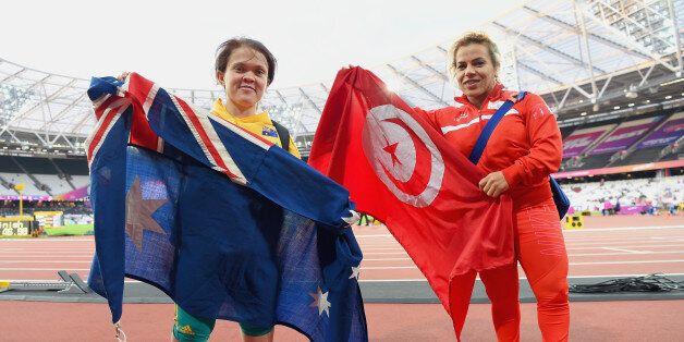 LONDON, ENGLAND - JULY 19: Raoua Tilili of Tunisia (R/Gold) and Claire Keefer of Australia (L/Silver)...