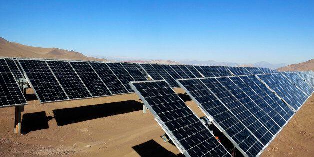Solar panels of local mining company CAP are seen in the Atacama Desert June 5, 2014. CAP inaugurated...