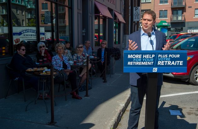 Conservative leader Andrew Scheer speaks at a campaign event in Saint-Hyacinthe, Quebec on Sept. 19,