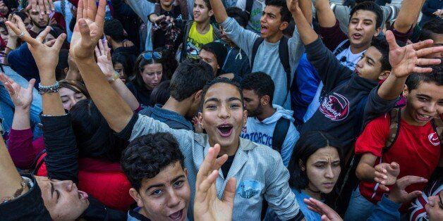 TUNIS, TUNISIA - NOVEMBER 21: Tunisian students take part in a protest against new exam system at the...