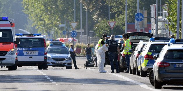Police and ambulances stand near the disco Club Grey in the southern German town of Konstanz, where a...