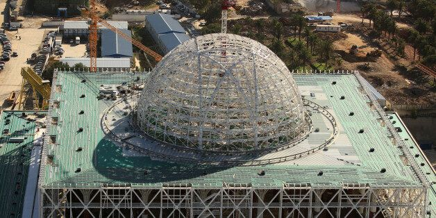 A view of the dome at the construction site of the new Great Mosque of Algiers, called Djemaa El Djazair,...