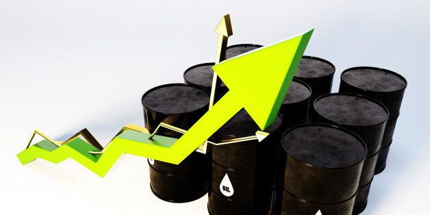 3d image of oil barrels with graph