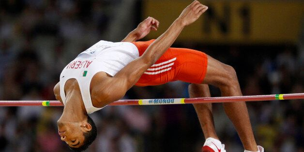 Larbi Bouraada of Algeria competes during the high jump event of the men's decathlon at the IAAF World...