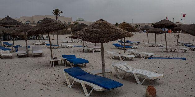 DJERBA, TUNISIA - JUNE 30: Empty beach chairs are seen on June 30, 2016 in Djerba, Tunisia. Before the...
