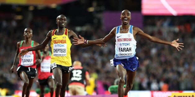 LONDON, ENGLAND - AUGUST 04: Mo Farah of Great Britain celebrates winning gold in the Men's 10000 metres...