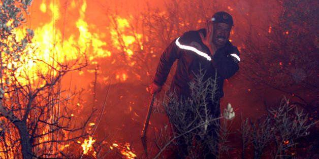 Un pompier se bat contre les flammes à Telemcen, septembre 2007 - Photo