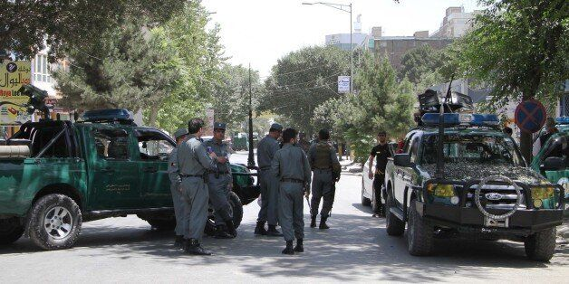 KABUL, AFGHANISTAN-JULY 31: Afghan security forces take security measures after bomb laden vehicle targeted...
