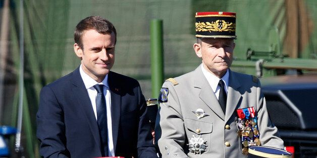 French President Emmanuel Macron (L) and Chief of the Defence Staff French Army General Pierre de Villiers...