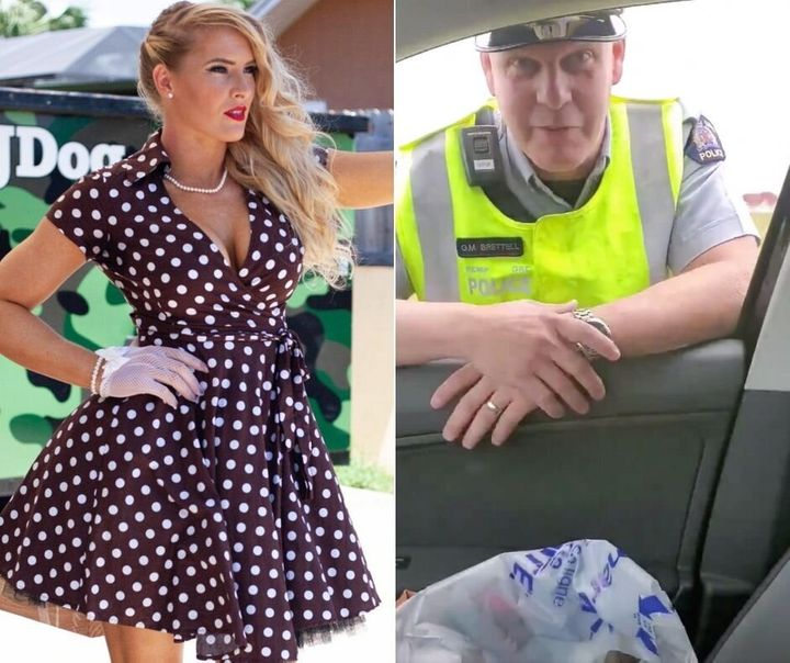 WWE wrestler Lacey Evans and a RCMP officer involved in a staged traffic stop video.
