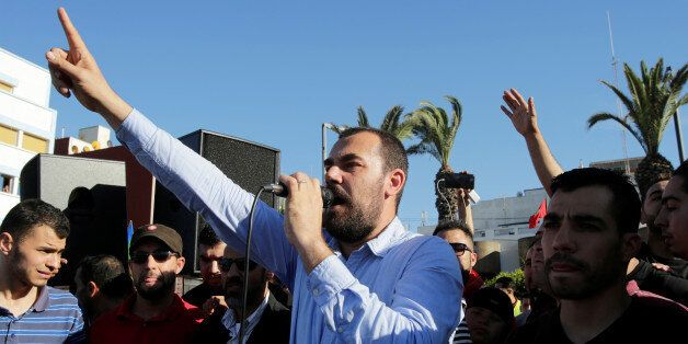 Moroccan activist and the leader of the protest movement Nasser Zefzafi gives a speech during a demonstration...