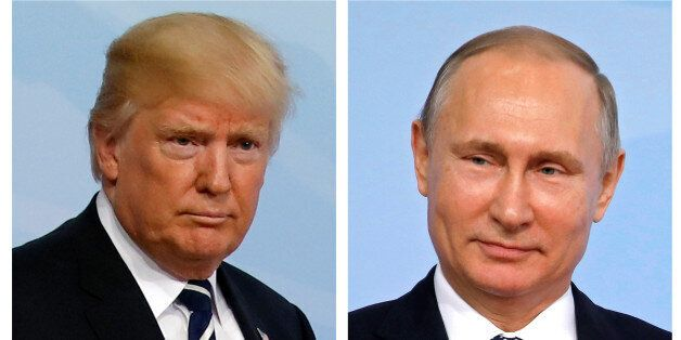 A combination of two photos shows U.S. President Donald Trump and Russian President Vladimir Putin as...