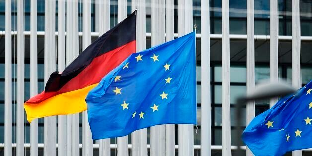 The European and German flags fly at half-mast at the European Parliament in Strasbourg, eastern France,...
