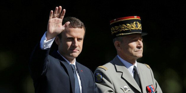 French President Emmanuel Macron and Chief of the Defence Staff French Army General Pierre de Villiers...