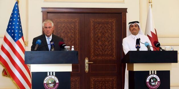 US Secretary of State Rex Tillerson and Qatari Foreign Minister Sheikh Mohammed bin Abdulrahman Al-Thani...