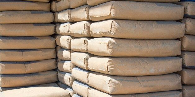 cement bags stacked in