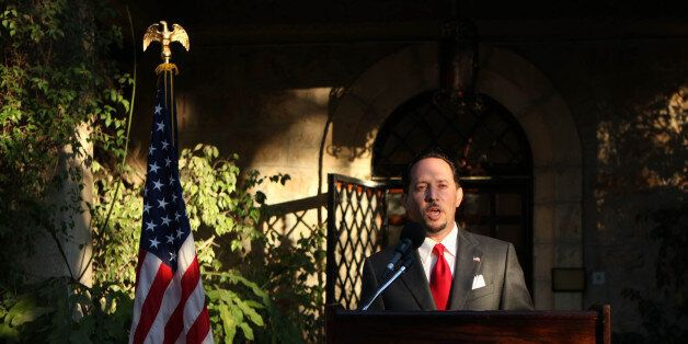 US Consul General of Jerusalem Daniel Rubinstein delivers a speech during a reception for the upcoming...