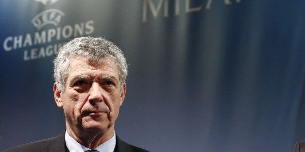 UEFA Vice-President Angel Maria Villar Llona of Spain attends the draw of the UEFA Champions League semi-finals...