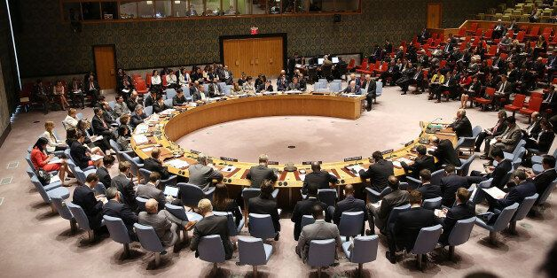 NEW YORK, NY - APRIL 12: Diplomats meet at a United Nation (UN) Security Council meeting on the situation...
