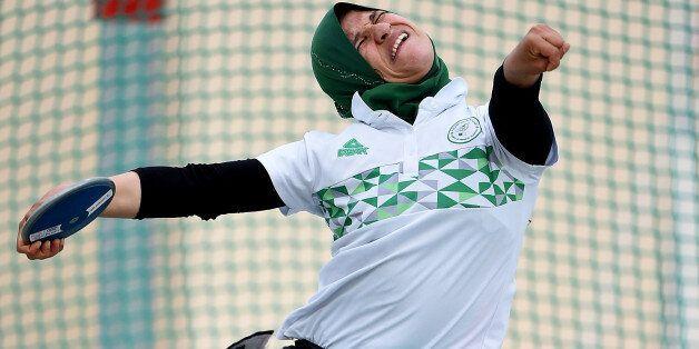 DUBAI, UNITED ARAB EMIRATES - MARCH 23: Mounia Gasmi of Algeria competes in Discus Wheelchair Women's...
