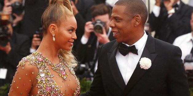Beyonce arrives with husband Jay-Z at the Metropolitan Museum of Art Costume Institute Gala 2015 celebrating...