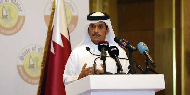 ??????Qatari Foreign Minister Sheikh Mohammed bin Abdulrahman Al-Thani speaks during a joint press conference...
