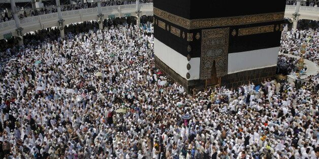 Muslim pilgrims pray around the holy Kaaba at the Grand Mosque ahead of the annual haj pilgrimage in...