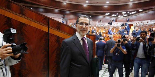 Moroccan Prime Minister Saad Eddine el-Othmani arrives at the Moroccan Parliament in Rabat, Morocco April...
