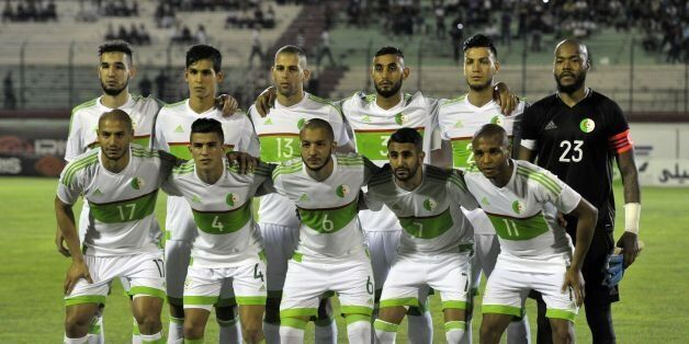 Algeria's first eleven pose for a team photo prior to their 2019 African Cup of Nations qualification...