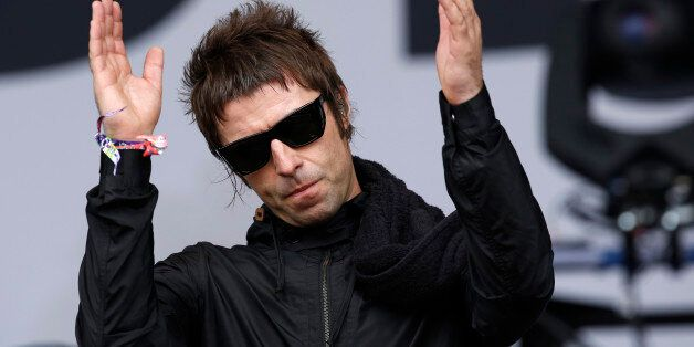 Liam Gallagher performs with his band Beady Eye during the Glastonbury music festival at Worthy Farm...