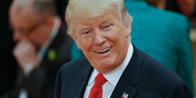 President of the United States Donald Trump is seen ahead of the thrid plenary session of the G20 summit...