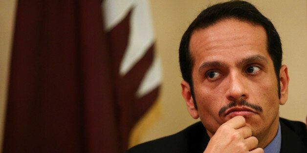 Qatari Foreign Minister Sheikh Mohammed bin Abdulrahman al-Thani attends a news conference in Rome, Italy,...