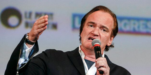 Director Quentin Tarantino speaks at the opening day of the Lumiere Festival in Lyon, France, October...