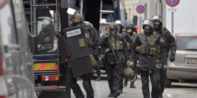 Police commandos raid the club house of the Hells Angels in Vienna, Austria on January 4, 2017. A German...