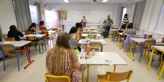 Pupils wait for the start of the first written test in philosophy as part of the Baccalaureat (France's...