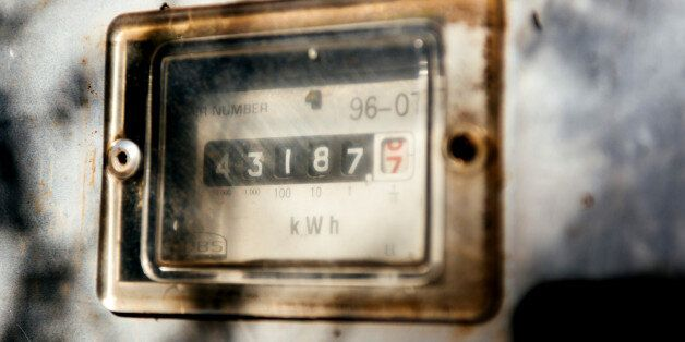 An electricity meter shows kilowatt energy numbers in Johannesburg, South Africa, on Wednesday, Oct....