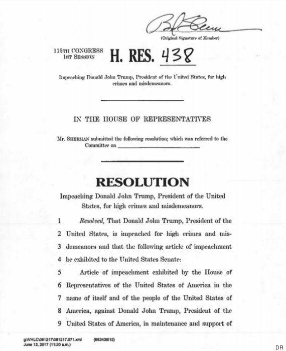 La 1ère résolution pour la destitution de Donald Trump a officiellement été
