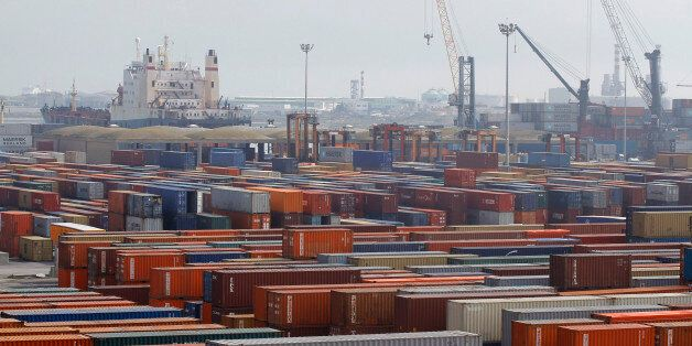 A general view shows a shipping container area at the port of Halk al-Wad, in Tunis February 19, 2013....