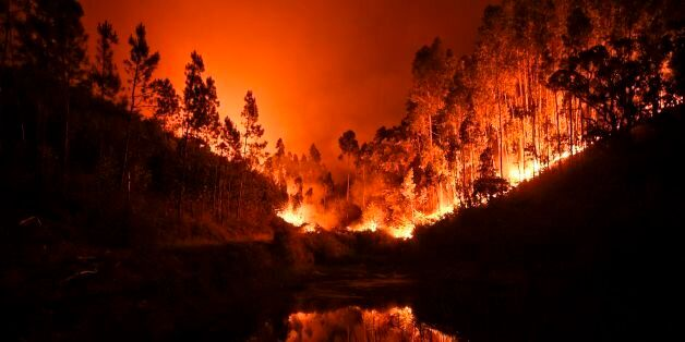 TOPSHOT - A wildfire is reflected in a stream at Penela, Coimbra, central Portugal, on June 18, 2017....