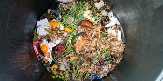 Photo of a plastic home composting bin with freshly intorduced kitchen scraps and other biodegradable...