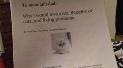 Les parents de cette jeune fille qui rêve d'un chat auront du mal à résister à ce vibrant